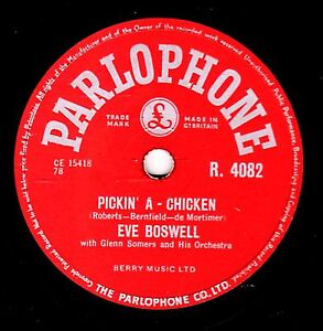 GEORGE MARTIN - EVE BOSWELL 78  PICKIN' A CHICKEN / BLUE STAR UK#9 PARL R4082 E+