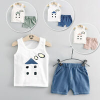 Newborn Baby Boys Girls Cotton Vest Tops+Striped Shorts Outfits Set Clothes 0-4Y