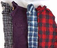 Men's Flannel Shirts Lot 4 Random Cotton Plaid/Solid Button Down S M L XL 2XL 3X