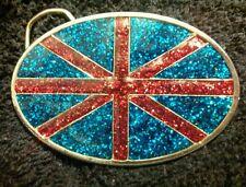 Union Jack Enamel Belt Buckle Royal Union Flag UK United Kingdom Glittery