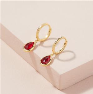 BN Anthropologie January Birthstone Huggie Hoops Drop Earrings 'Garnet' Red Wine