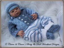 "BABYDOLL HANDKNIT DESIGNS KNITTING PATTERN PRAM SUIT 14-18"" BOY DOLL EARLY BABY"
