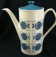 Vintage Johnson Bros Brothers England White  Porcelain Blue Pattern Coffe pot