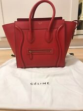 celine red pebble leather tote bag gold hardware mini