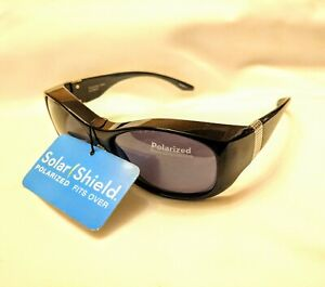 Foster Grant Solar Shield Sunglasses Polarized Fit Over RX Black L Frame