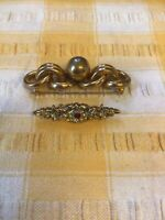 2 Vintage Ladies Brooches Gold Colour Metal