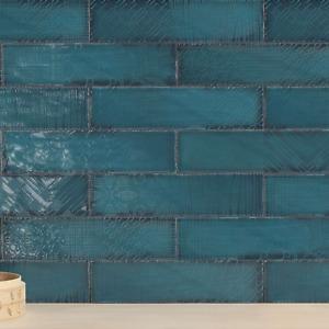 Tile Sample: Libertine Peacock Green Decor Patchwork Wall Tiles 7.5 x 30cm