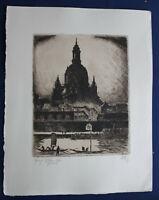 """Radierung von Erich Wünsche """"Dresden Terrassenufer & Frauenkirche"""" 1921 Kunst sf"""