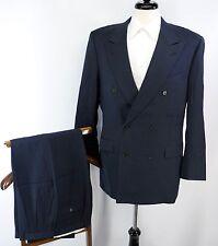 CANALI Super 120s Wool Navy Blue Double Breasted Peak Lapel Suit 50L EU 40L US