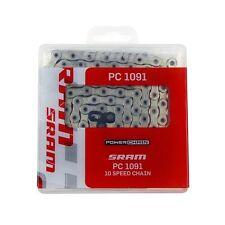 Sram PC-1091 Road Bicycle Chain-10 Speed-PowerLock-114 Links-Grey-New