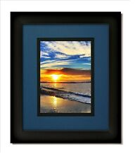 16x20 Matte Black Frame with Glass & Nautica Blue/Black Mat for 11x14