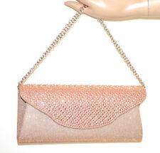 BOLSO CLUTCH pochette cristales mujer beige polvo rosa strass cadena plata G56