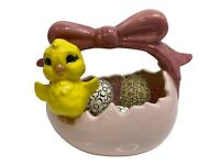 Vintage Ceramic Easter Basket Pink w Yellow Chick Includes 3 Hand Painted Eggs