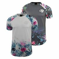 Mens T-shirt Crosshatch Short Sleeve Floral Print Crew Neck Tee Top