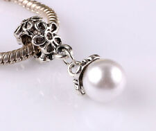 5pcs Tibetan silver pearl pendant spacer beads fit Charm European Bracelet BA519