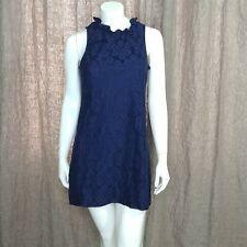 Paper Crane Floral Lace Mini Dress M Ruffled Neckline Back Keyhole Navy Blue