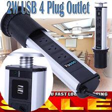 3/4 Pop Up Pull Power Point Socket Home Unit Desk Worktop w/ 2 USB Charging HOT