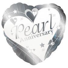 """perle anniversaire 18 """" en forme de cœur Ballon plat - Argent/ gris/ Blanc"""