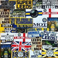 100 x Leeds United Ultra Stickers based on Programme Scarf Pin Badge Admiral AFC