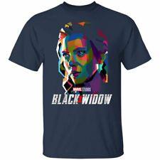 Men's Black Widow Fan Marvel T-Shirt Comic Con! 2020 Black Navy Art Picture Tee