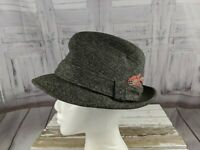 Resistol mens fedora wool hat 7 1/8 feather fashion tweed gray