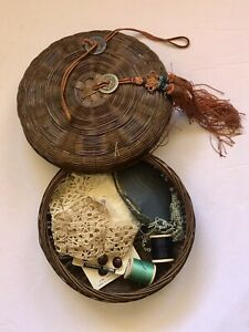 Antique Chinese Wicker Sewing Basket Coin w/ buttons, lace, thread, notions