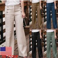 US Women Linen Cotton Wide Leg Pants Pure Color High Waist  Palazzo Trousers GW