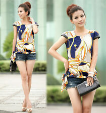 Unbranded Women's Floral Chiffon Short Sleeve Sleeve Tops & Shirts