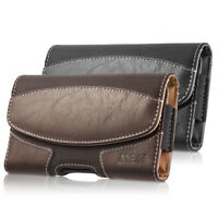 Leather Belt Clip Carrying Case Horizontal Holster Pouch For iPhone Samsung LG