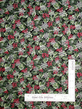 Christmas Holly Snowflakes Silver Cotton Fabric Benartex Festive Season By Yard