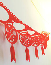 2 RED 3M WOVEN FABRIC LUCKY BUNTING GARLAND CHINESE PARTY NEW YEAR WEDDING XMAS
