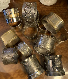 Bulk Mixed Lot Of Antique & Vintage Napkin Rings Sterling Silver Brass Wishbone