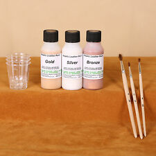 Metallic Leather Paint art & craft Kit Gold / Silver / Bronze