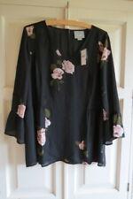 Anthropologie Floral V Neck Peplum Top Sz L (UK 14 16) Black
