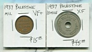 PALESTINE -TWO BEAUTIFUL HISTORICAL 1937 COINS, 1 MIL & 10 MILS