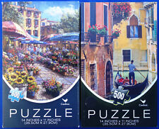 jigsaw puzzle lot of 2 Cardinal 500 pc cityscapes flower market venice canal