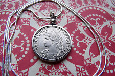 "France 1903 Lady Liberty French Centimes Coin on a 30"" 925 Silver Snake Chain"