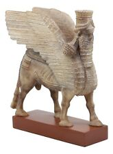 "Assyrian Bull Lamassu Statue 8.5""L Decorative Shedu On Wooden Pedestal Figurine"