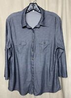 Eden & Olivia Womens Gray Button Down 3/4 Sleeve Top Size L