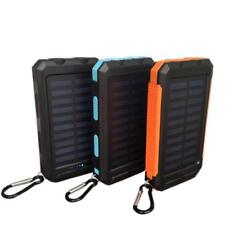 Batería Externa Solar Cargadores Brújula 2 USB Dual 10000MAH Luces Impermeable