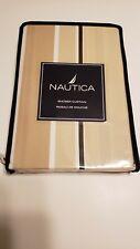 Nautica Shower Curtain 72'' x 72'' Sawyer Stripe Tan Brown White New in Pkg