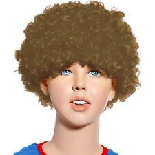 80s Curly Afro Wig Party Clown Funky Disco Kids Childs Adult Costume Brown Hair