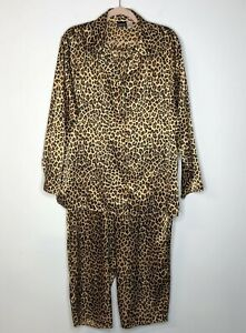 Fredrick's of Hollywood Pajama Set Leopard Print Button Front Size 1X Brown