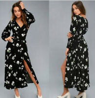 Free People So Sweetly Floral Print Midi Dress Black Long Sleeve V neck Size Med