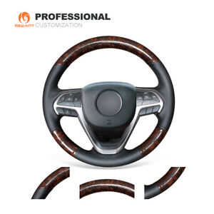 Wood Grain Carbon Fiber Leather Steering Wheel Cover for Jeep Cherokee