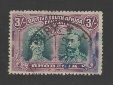 RHODESIA DOUBLE HEAD 3s SG158a FINE USED SALISBURY 1913