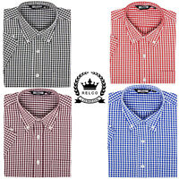 Relco Men's Gingham Check Short Sleeve Button Down Blue Black Red Mod Shirt
