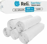 Reli. SuperValue 16-30 Gallon Trash Bags (500 Count Bulk) Clear Garbage Bags