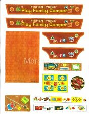 Fisher-Price Little People CAMPER #994 REPLACEMENT STICKERS LITHOS: PEEL & STICK