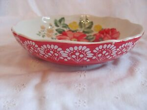 """Pioneer Woman Betsy Stoneware Red Pasta Bowl Soup Salad 7.5"""""""